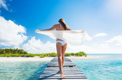 Woman Relaxing Tropical Island Royalty Free Stock Images