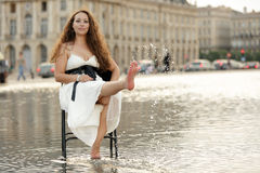 Woman relaxing on water Royalty Free Stock Photos