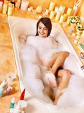 Woman relaxing at  bubble bath. Stock Photo