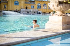Woman relaxing at the thermal bathes in Budapest Royalty Free Stock Image