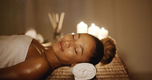 Woman Relaxing In A Wellness Center Stock Images