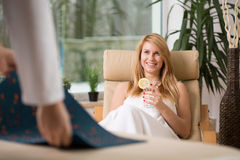 Woman relaxing in wellness center Stock Photo
