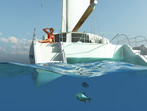 Woman relaxing on yacht Stock Photos