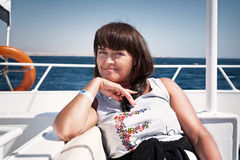 Woman relaxing on a yacht. The red sea Stock Image