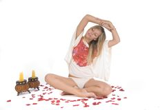 Woman relaxing in yoga meditation Royalty Free Stock Images