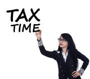 Woman remind the time to pay tax duty Royalty Free Stock Photography