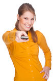Woman with remote Royalty Free Stock Images