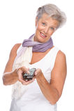 Woman with remote control Royalty Free Stock Images