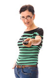 Woman with remote control Stock Image