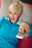 Woman remotes you Royalty Free Stock Photos