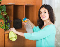 Woman removes dust Stock Photos