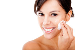 Woman removing make up Royalty Free Stock Photography