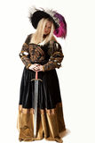 Woman in Renaissance costume with sword Stock Photo
