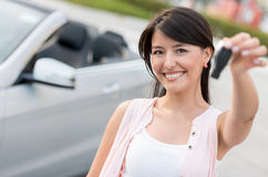 Woman renting a car Stock Photography