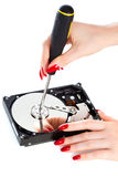 Woman repairing computer HDD Royalty Free Stock Photos