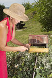 Woman repairing old bird house Stock Photos