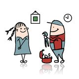 Woman and repairman, sketch for your design Stock Images