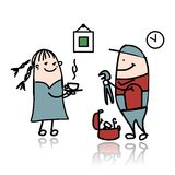 Woman and repairman, sketch for your design Royalty Free Stock Images