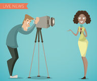 Woman reporter and camera man. Cartoon characters. Stock Photo