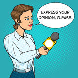 Woman reporter with microphone comic book vector Stock Images