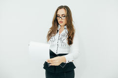 Woman  reports in office Stock Photography