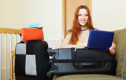 Woman reserving hotel  in  internet Royalty Free Stock Images