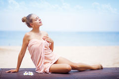 Woman at resort Royalty Free Stock Photos