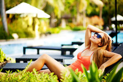 Woman at resort Stock Photo