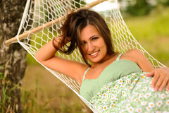 Woman rest in hammock Royalty Free Stock Image