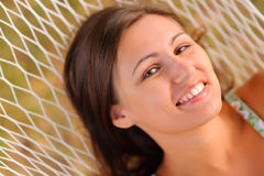 Woman rest in hammock Stock Photos