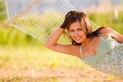 Woman rest in hammock Royalty Free Stock Photos
