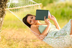 Woman rest in hammock Stock Photo
