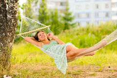 Woman rest in hammock Royalty Free Stock Photography