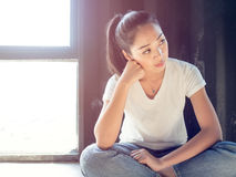 Woman rest from hard work. Royalty Free Stock Images