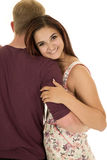 Woman rest head on shoulder of man in purple shirt smile Royalty Free Stock Photo