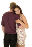 Woman rest head on shoulder of man in purple shirt Royalty Free Stock Images