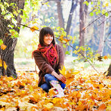 Woman rest on the nature, autumn outdoor. Royalty Free Stock Photography