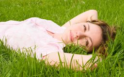 Free Woman Rest On The Grass Stock Images - 5710064
