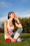 Woman rest in the park Royalty Free Stock Photos