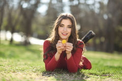 Woman rest in the park with dandelions Royalty Free Stock Photos