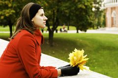 Woman rest in park Stock Photos