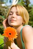 Woman rest in the park with flower Stock Photography