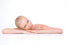 Woman in rest position Royalty Free Stock Images