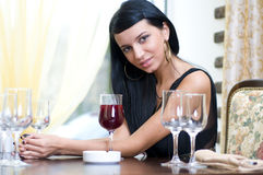 Woman in restaurant Royalty Free Stock Image