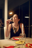 Woman in a restaurant. Alone Royalty Free Stock Photography