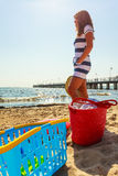 Woman restin on beach. Stock Photography