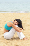 Woman resting alone on beach relax Royalty Free Stock Photos