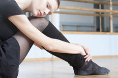 Woman Resting In Ballet Rehearsal Room royalty free stock photo