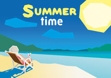 Woman resting on the beach on a deck chair. flat design summer beach and sea cartoon. low poly Stock Photography