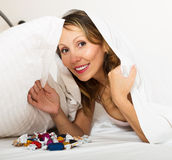 Woman resting with chocolate candy Royalty Free Stock Photography